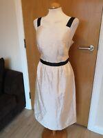Ladies M&S Dress Size 14 Cream Black Textured Shift Smart Party Evening
