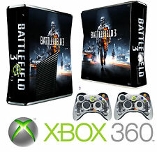 Xbox 360 SLIM Console Sticker Skin Battle Field War Style skin & 2 X Pad Skins