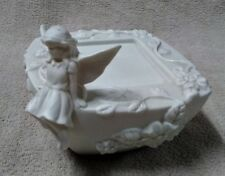PARTYLITE ENCHANTMENT Girl Fairy Porcelain Bisque SQUARE PILLAR CANDLE HOLDER