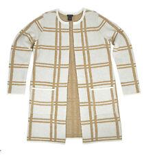 [7858]Ann Taylor Womens Brown Beige Plaid Knit Open Front Coat Jacket XLarge $89