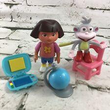 Nick Jr Dora The Explorer Dollhouse 5Pc Lot Boots Chair Science Laptop Globe