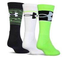 Under Armour Baseball Crew Socks Black Neon Green Large