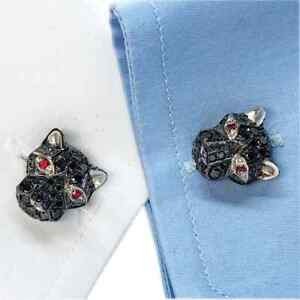 4.10CT Black Onyx With 0.25CT Red Ruby Eyes Cougar Face Shaped Men's Cufflinks