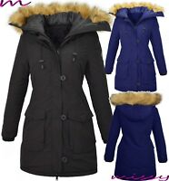Womens Designer Winter Parka Quilted Coat Fur Collar Hooded Long Ladies Jacket J