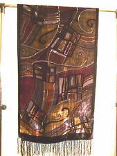 Velvet devore scarf/shawl  Black/gold/red/brown/grey abstract design    NEW