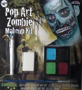 Fun World Pop Art Zombie Water Activated Makeup Kit NEW!