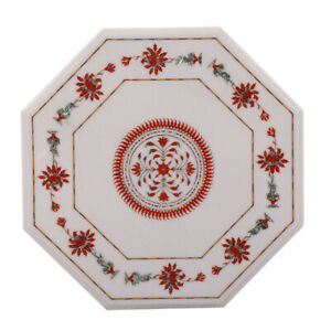 """24"""" Marble Table Top / Coffee Table Handmade Inlay Work Home Furniture"""