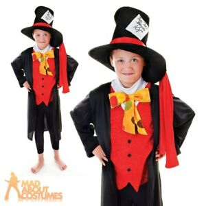 Kids Mad Hatter Costume Alice Fairy Tale Fancy Dress Outfit Girls Boys Book Day