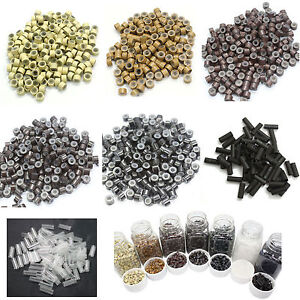100~500pc Silicone Lined MICRO Ring Link Crimp Beads for FEATHER Hair Extensions
