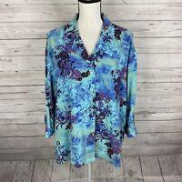 Tianello Womens Aida Blouse Top Sz Medium Blue Floral Print 3/4 Sleeve Oversize