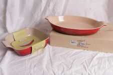"""New Le Creuset Heritage Stoneware 14"""" Oval Gratin & 9"""" square dish, red"""