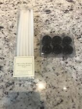 Pottery Barn 12 Mini Taper Candles 10 Inches White And Candle Holders Red