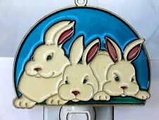 """STAINED GLASS STYLE """"THREE RABITS"""" NIGHT LIGHT -GREAT GIFT FOR ALL OCCASIONS!"""