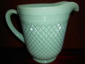 Jadeite Green milk glass diamond pattern pitcher serving water carafe jade large