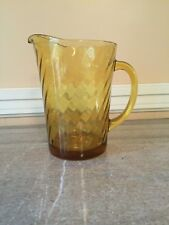 New listing Glass Topaz/ Amber tea or water pitcher/ vintage
