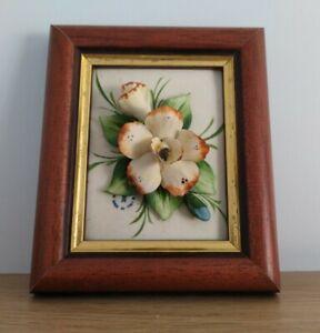 VINTAGE SMALL 3D PORCELAIN FLOWERS FRAMED PICTURE