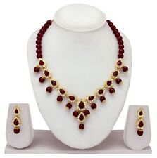 Traditional Indian Gold Tone Wedding Fashion Jewelry Necklace Earrings Party Set