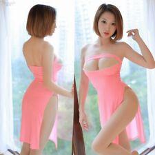 Women's Open Bust Off Shoulder Mini Dress Bodycon See Through Backless Clubwear