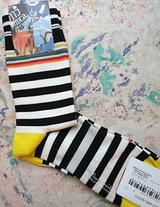 Paul Smith Mens Korean Cycle Socks Two Stripes Black White K597S Medium M Nylon