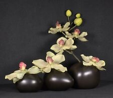Pearlescent Brown Ceramic Bud Vases Set Of 3 From CB2 Satin Finish Pre-Owned