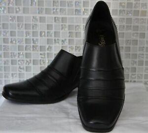 Easy Steps Womens Black EU38 AU8 Black Leather 'Quade' Mid Heel Shoes