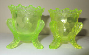 Boyd Toothpick Holders Vaseline Forget Me Not Lot 2 Green & Yellow Uranium Glass
