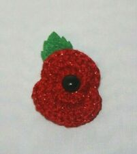 HANDMADE CROCHET sparkly red POPPY