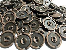 "50 Old Metal Buttons Antique Copper Finish 18mm 11/16"" W/Rim Design 2hole"