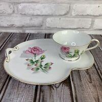 Snack Set Cup & Plate Pink Rose Flower Floral Fine Porcelain Gold China Japan