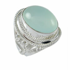 AAA quality Aqua Chalcedony Ring 925 Sterling Silver Ring size 8 fine Jewelry