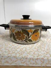 Vintage 70's Jmp Capri From Spain Porcelain Enamelware Dutch Oven With Lid