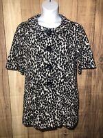 Joseph Ribkoff Women Size US 8 Black White Floral Print Knit Button Up jacket