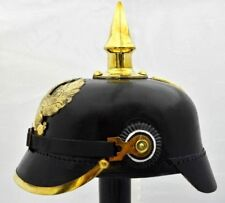 Medieval Brass Eagle German Pickelhaube Imperial Prussian Helmet Hat Leather new