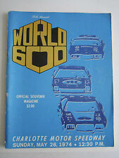 1974 15TH ANNUAL WORLD 600 CAR RACING SOUVENIR PROGRAM - BOX BPR-2