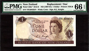 New Zealand $1 REPLACEMENT // STAR 1967-81 Prefix Y91 P-163c* GEM UNC PMG 66 EPQ
