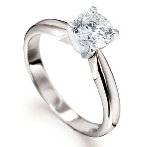 1/4CT SOLITAIRE DIAMOND TULIP 4 CLAW ENGAGEMENT RING 18CT WHITE GOLD 0.25 750