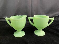 McKee Glass Co Jadite/ Jadeite/ Jade-ite Footed Laurel Cream Sugar Set