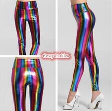 Women's Rainbow Metallic Shiny Neon Leggings Retro 80's Costume Accessories