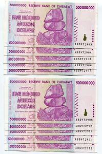 Zimbabwe 500 Million 2008 Banknotes AU P82 AB x 10 Pieces 100 Trillion Series