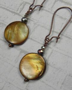 Brown Shell Crystal Antique Copper Pierced Earrings Handmade New
