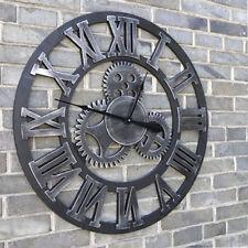 Wanduhr Quarzuhr Vintage Zahnrad Holz Metall-Design Römische Zahlen Uhr φ45cm