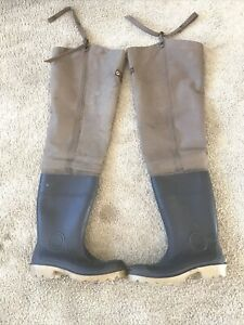 "VINTAGE LACROSSE OUTDOORSMAN RUBBER BOOTS 33"" Canvas Top Men's Sz 11"