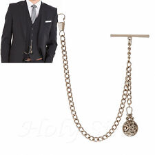 New Silver Colour Single Albert Pocket Watch Chain with Pendant and GIFT POUCH