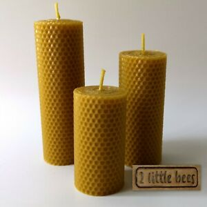 100% Beeswax Candles Natural Pure Rolled Big Large Candle Decor Handmade Gift UK