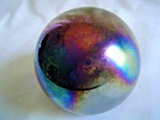 Vintage Welch Dark Iridescent Glass Round Paperweight