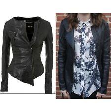 Topshop Kate Moss Asymmetric Black Leather Jacket - Size 6