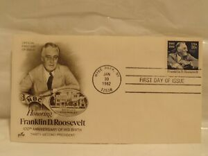 Franklin D. Roosevelt First Day Issue, 100th Anniversary  of His Birth, 1982