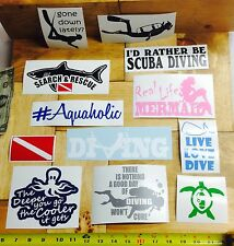 Scuba Diving DECALS (12) vinyl sticker diver dive mermaid turtle suit mask tank