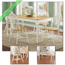5 Pc Farmhouse Dining Room Set Table 4 Chair Wood Windsor Country Sets White Oak