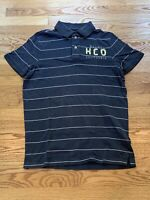 Hollister Grey White Striped 100% Cotton Short Sleeve Polo Shirt Mens Size Large